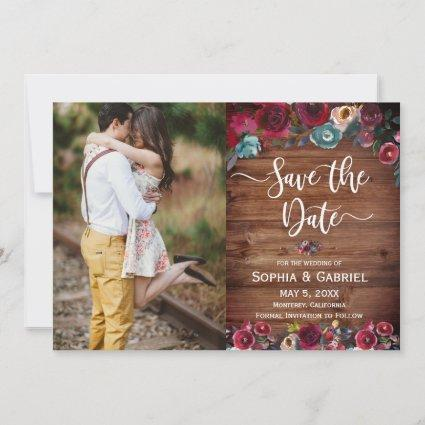 Country Burgundy Red Floral Save the Date Photo