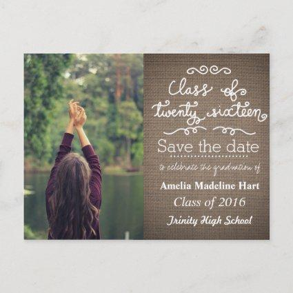 Country Burlap Class Of 2016 | Save The Date Photo Announcements Cards