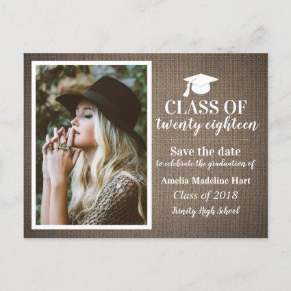 Country Burlap Class Of 2018 | Save The Date Photo Announcements Cards