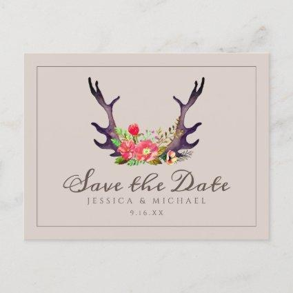 Country Deer Antlers Floral Wedding Save The Date Announcement