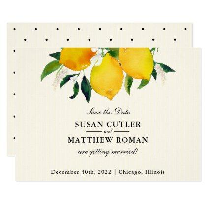 Country Lemon & Flowers Petite Save the Date Card