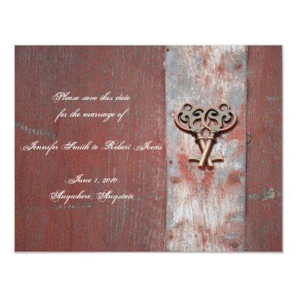 Country Painted Wood Skeleton Keys Save the Date Invitation