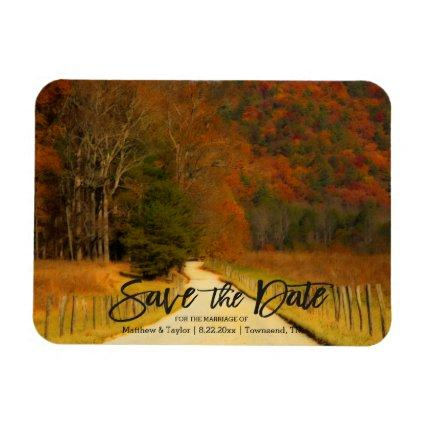 Country Roads And Fence Post Wedding Save The Date Magnets