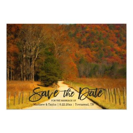 Country Roads And Fence Post Wedding Save The Date Magnetic Invitation