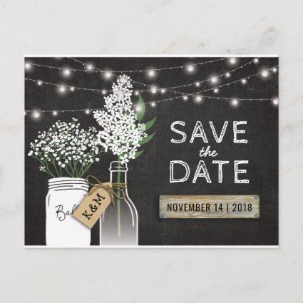 Country Rustic Chalkboard Wood Save the Date Announcement