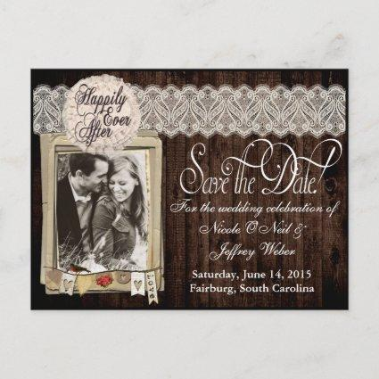 Country Rustic Photo Save the Date Wedding Card