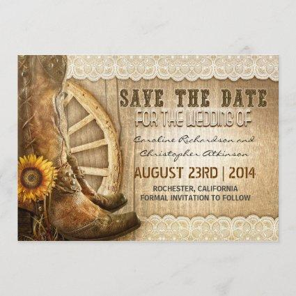 country style sunflower lace save the date invites