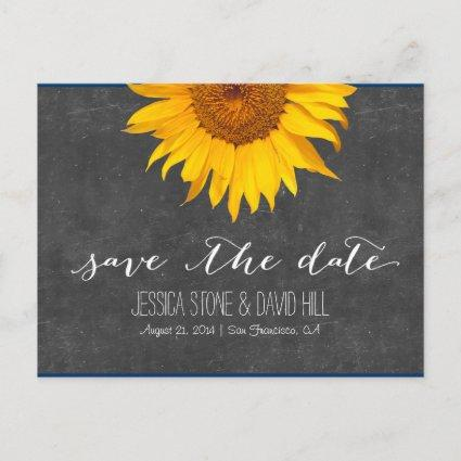 Country Sunflower Chalkboard Wedding Save the Date Announcement