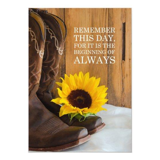 Country Sunflower Western Wedding Save the Date 5x7 Paper Invitation Card