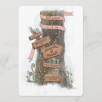 Country Wedding Save the Date Illustrated Tree