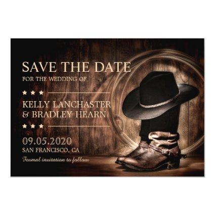Country Western Cowboy Boots Save The Date Magnetic Invitation