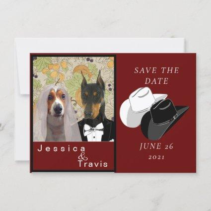 Country western save the date card with picture