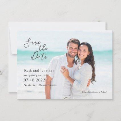 Couple at the Beach Photo Save the Date Card