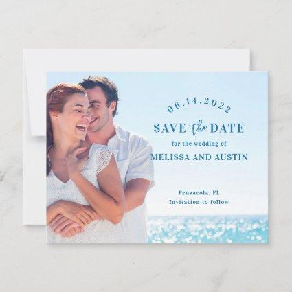 Couple at the Beach Save the Date Photo Card