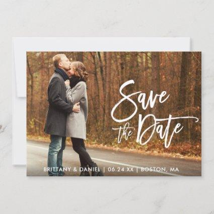 Couple Photo Save The Date Brush Script Card