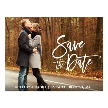 Couple Photo Save The Date Modern Brush Script