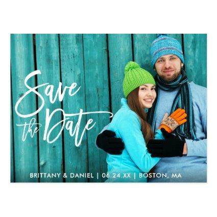 Couple Photo Save The Date Modern Brush Script W