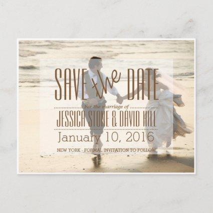 Couple Running on the Beach/Save The Date Announcement
