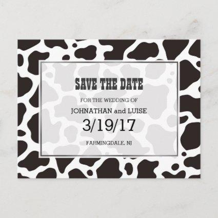 Cow pattern background Save the Date Cards
