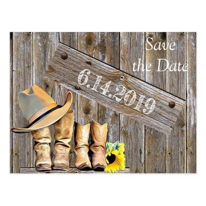 Cowboy Boots and Sunflowers Save the DateWedding