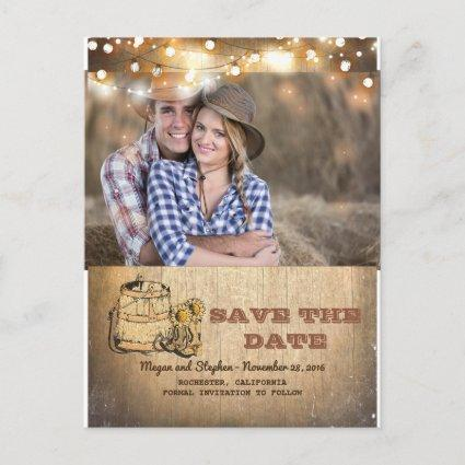 Cowboy Boots Rustic Country Photo Save the Date Announcement