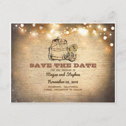 Cowboy Boots Rustic Country Save the Date Announcement