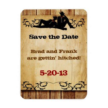 Cowboy Grooms Gay Wedding Save-the-Date Magnets