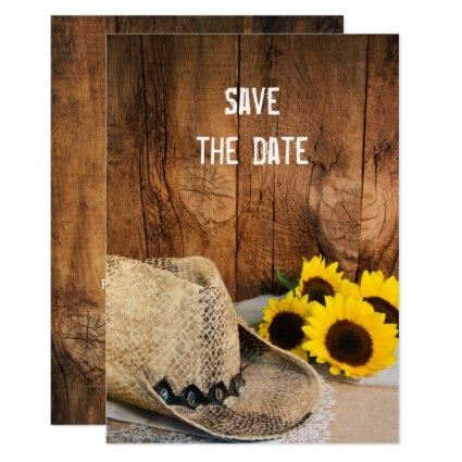 Cowboy Hat Sunflowers Barn Wedding Save the Date Invitation