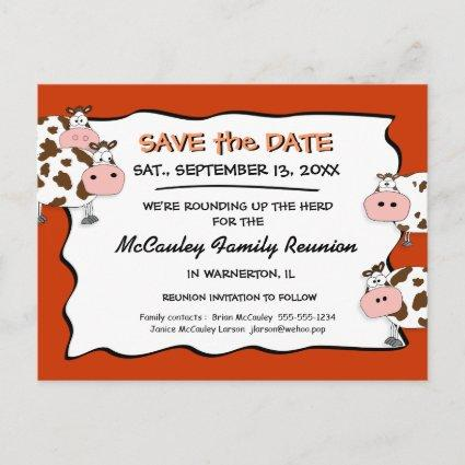 Cowdacious Paprika Family Reunion Save the Date Announcements Cards