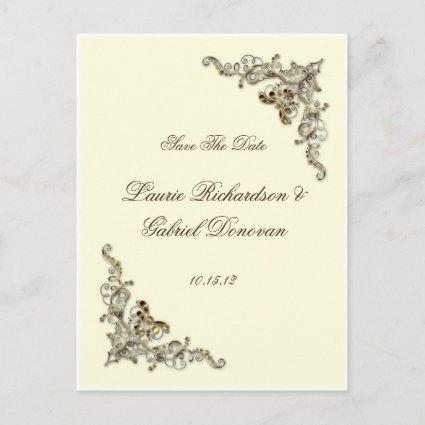 Cream Brown Gold Ornate Jeweled Save The Date Announcement