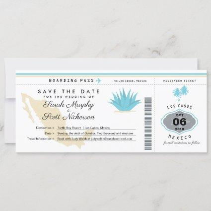 Cream Teal Mexico Save the Date Boarding Pass