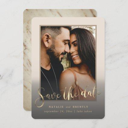 Creamy Beige Gold Script & Marble Photo Overlay Save The Date