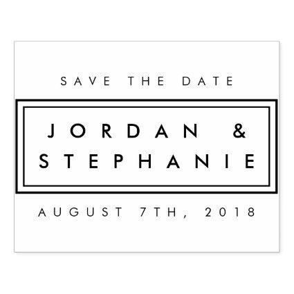 Create Your Own Clear Stylish Modern Save The Date Rubber Stamp