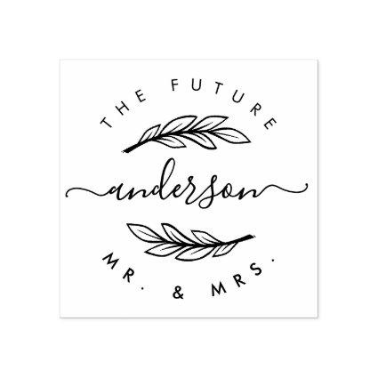 "Create Your Own Custom Modern ""Future Mr & Mrs"" Rubber Stamp"