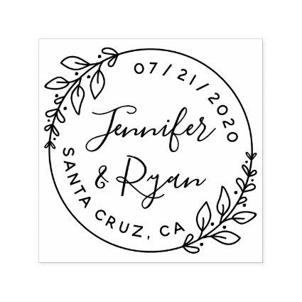 Create Your Own Cute Round Wedding Save The Date Self-inking Stamp
