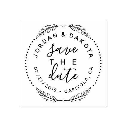 Create Your Own Cute Save The Date Modern Wedding Rubber Stamp