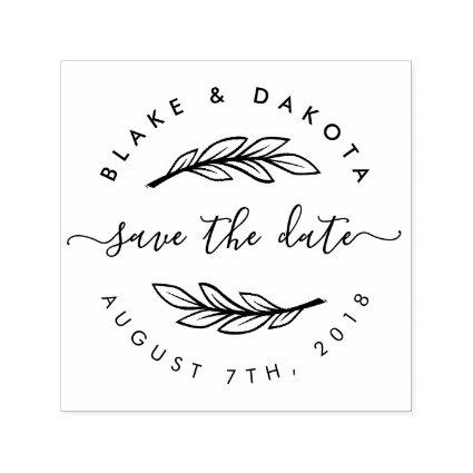 Create Your Own Rustic Custom Modern Save The Date Self-inking Stamp