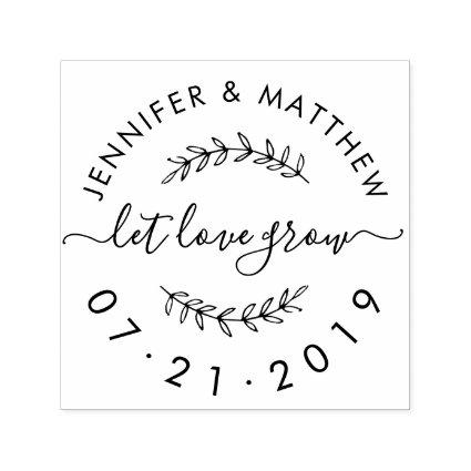 Create Your Own Rustic Let Love Grow Wedding Date Self-inking Stamp