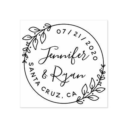 Create Your Own Sweet Round Wedding Save The Date Rubber Stamp