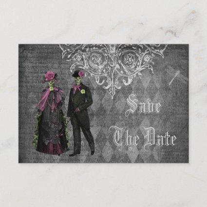 Creepy Halloween Bride & Groom Save the Date