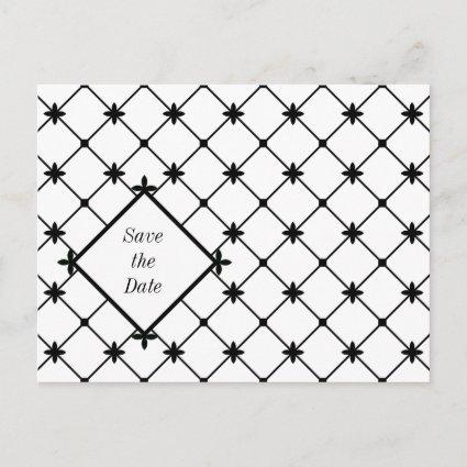 Cross Pattern Save the Date Black White Cards