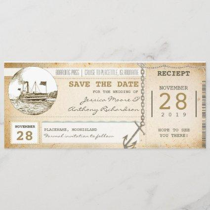 cruise boarding pass tickets for save the date