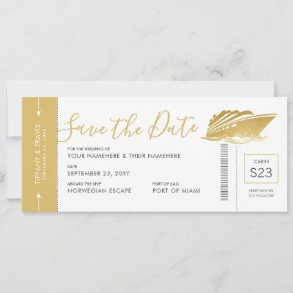 Cruise Wedding Boarding Pass Ticket Gold Yacht Save The Date