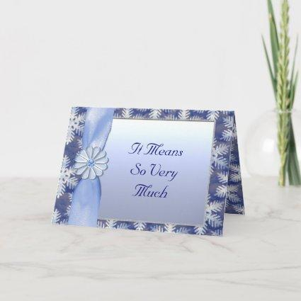 Crystal Blue Snowflake Celebration Holiday Card