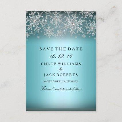 Crystal Snowflake Blue Winter Save The Date