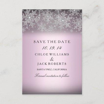 Crystal Snowflake Pink Winter Save The Date
