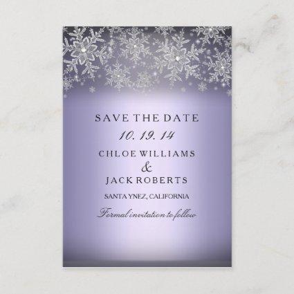 Crystal Snowflake Purple Winter Save The Date