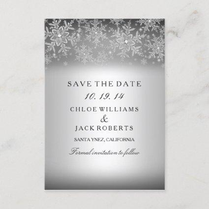 Crystal Snowflake Silver Winter Save The Date
