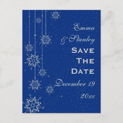 Crystal snowflakes blue wedding Save the Date Announcement