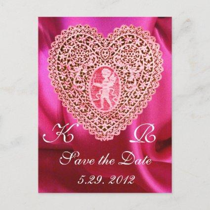 CUPID LACE HEART SILK FUCHSIA CLOTH , Pink Red Announcement